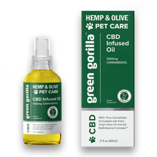 Pure CBD Oil for Pets 1500mg Hemp Infused - Green Gorilla