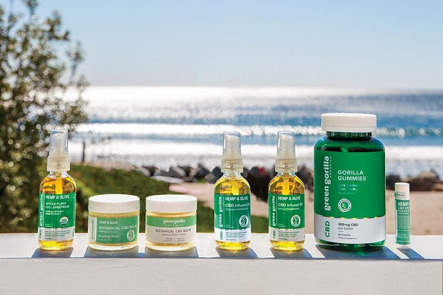 A product lineup of Green Gorilla™ CBD oils, balms, and gummies.