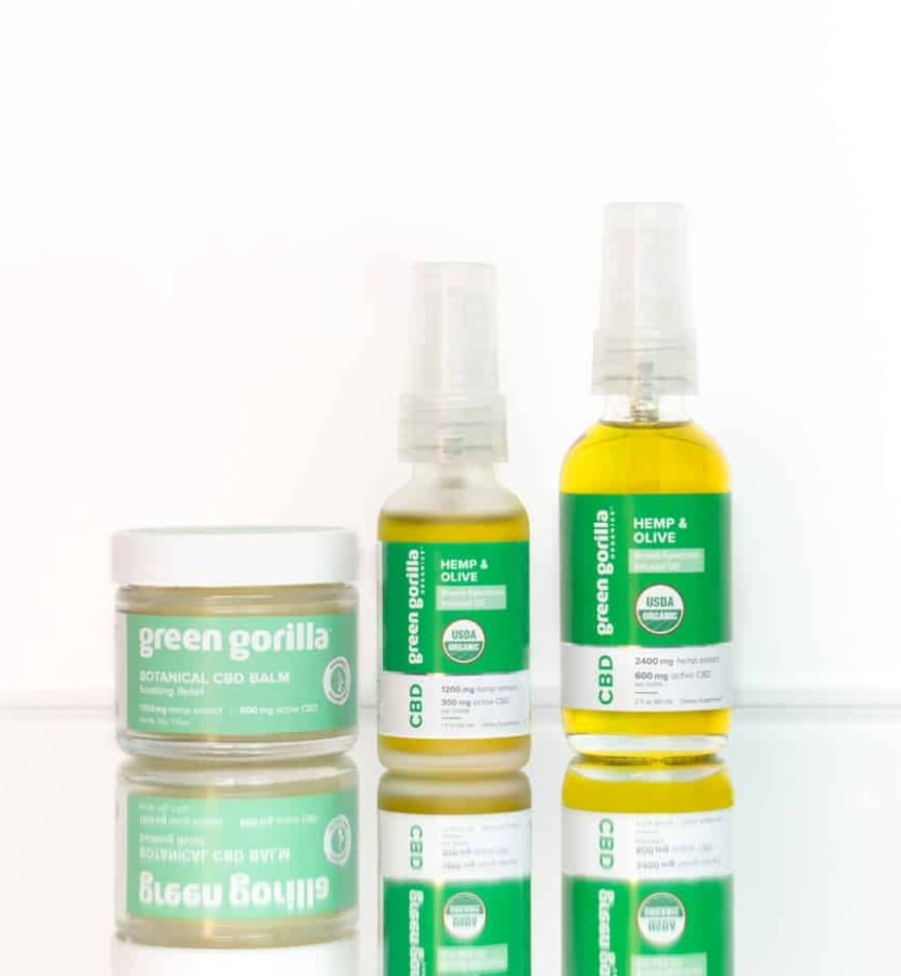 A lineup of broad spectrum CBD products from Green Gorilla™.