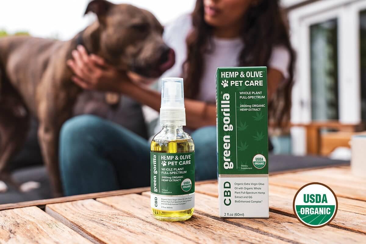 A bottle of Hemp & Olive full spectrum CBD pet care.