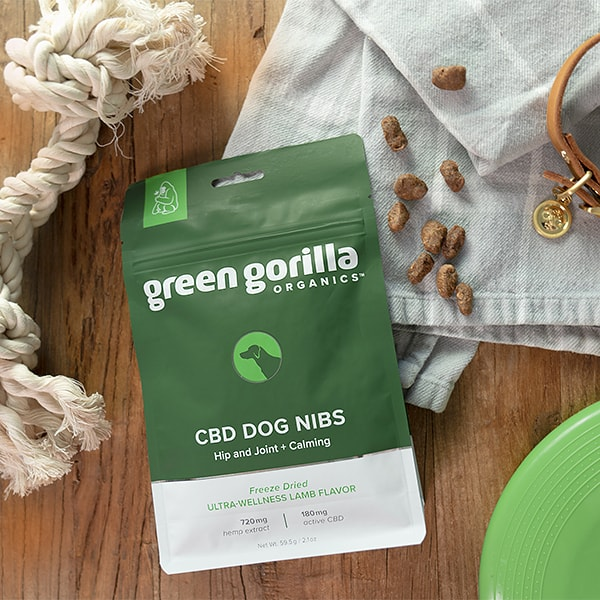 A bag of CBD pet treats on a table with a dog toy and collar.