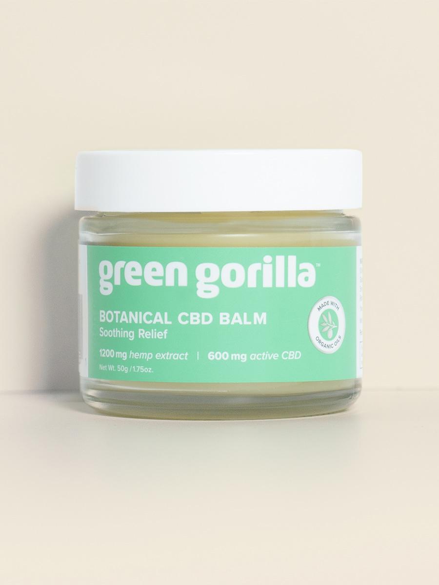 A jar of Green Gorilla™ botanical CBD balm for recovery.