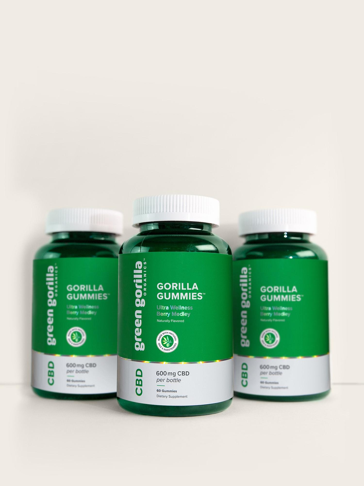 three bottles of Green Gorilla™ hemp CBD gummies