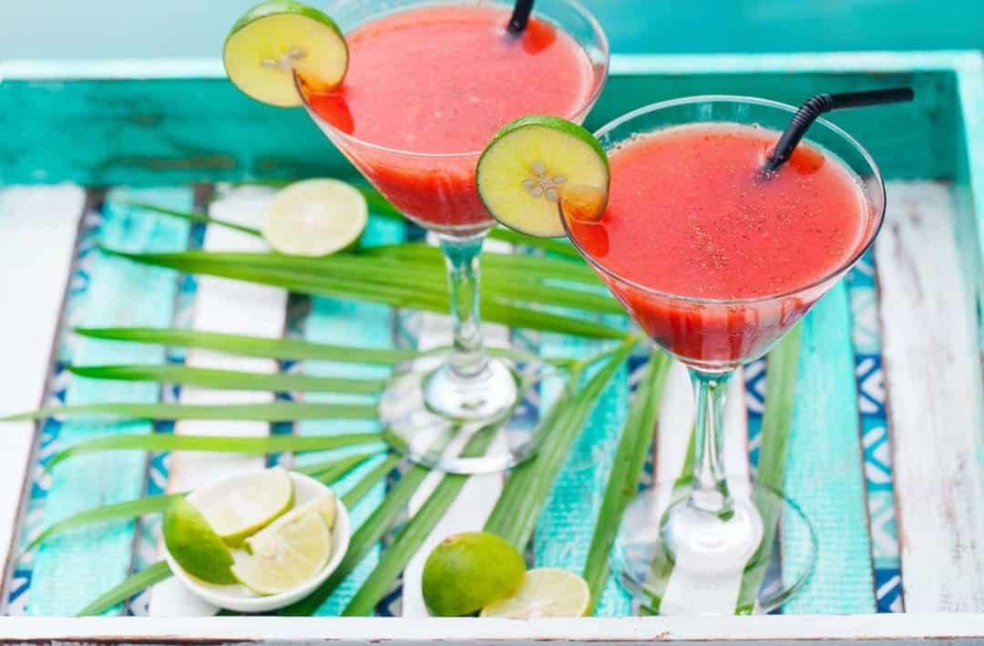 CBD-infused Frozen Strawberry Margarita