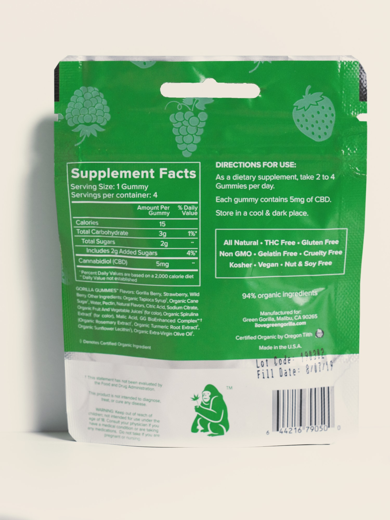 Buy Organic Pure CBD Infused Gorilla Gummies Travel Size - 20mg