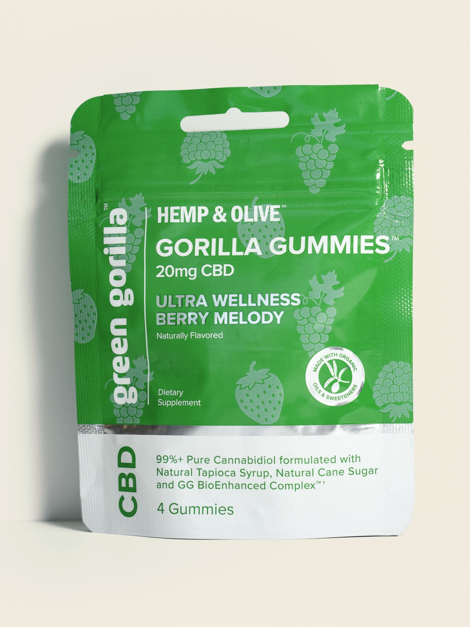 Pure CBD Infused Gorilla Gummies Organic CBD Chewables Travel Size - 20mg