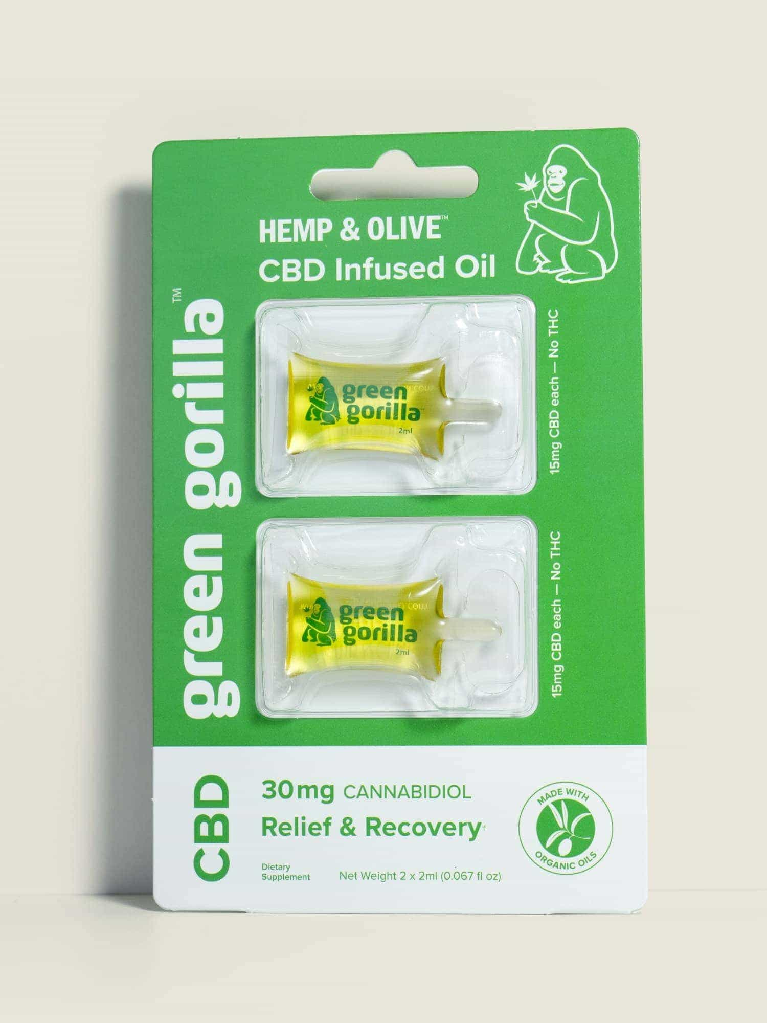 USDA Certified Organic Pure CBD oil single serve blisterpacks - 30mg | Green Gorilla