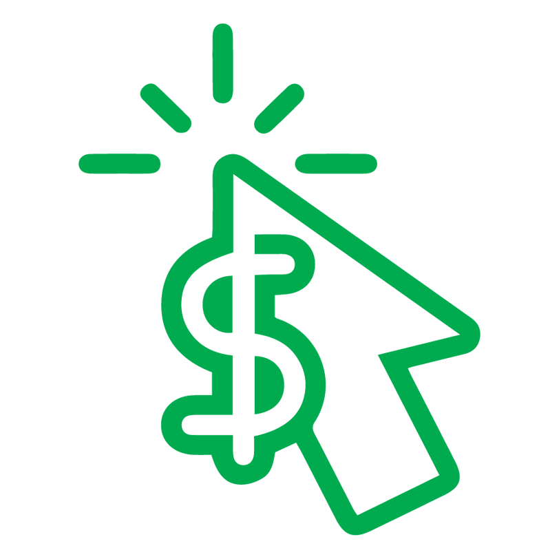 A green illustration of a mouse pointer and a dollar sign