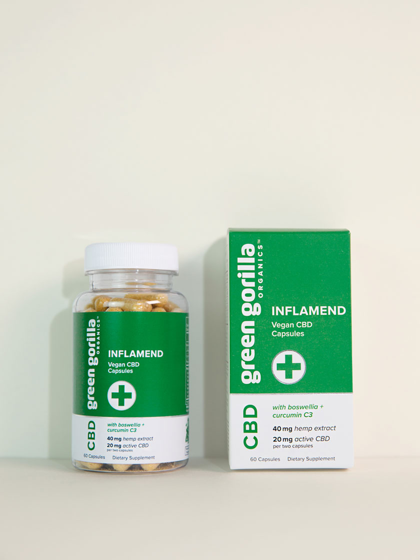 A bottle and box of Green Gorilla™ Inflamend CBD capsules.