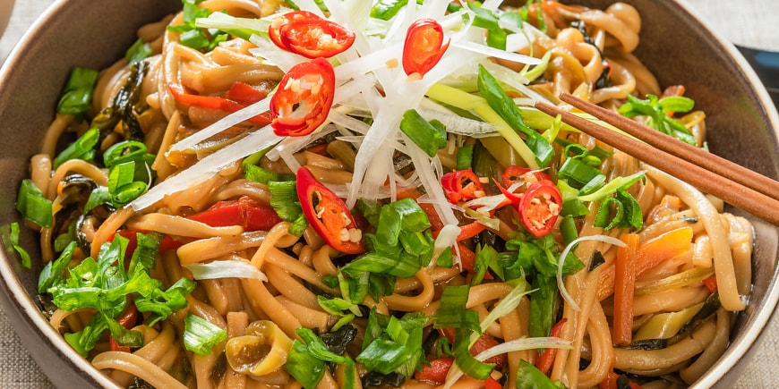 Veggie Chow Mein Noodles with CBD-infused Spicy Peanut Sauce