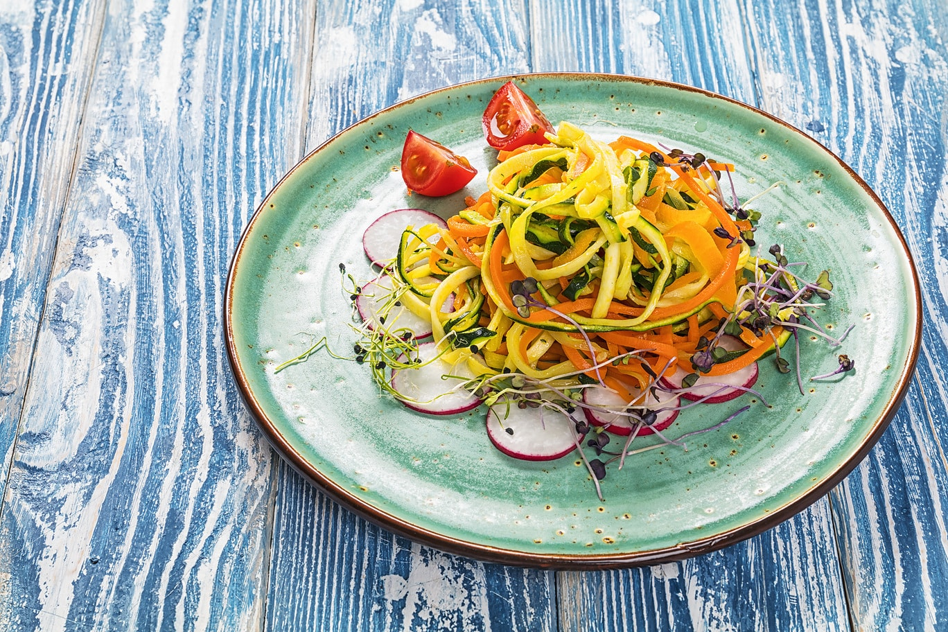 Spring Zoodles with CBD-infused Lemon-Herb Dressing