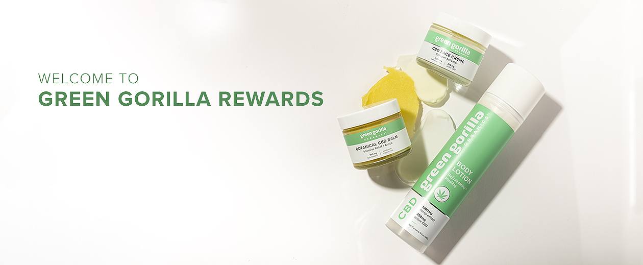 A Green Gorilla™ rewards banner with three assorted CBD products.